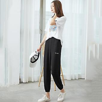 Casual Ankle-length Sleep Pants Lounge Wear Women Pajama Pants Elastic Harem