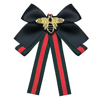 Strass Band Krawatte Bogen Kragen Brosche Pin Satin Band Schleife Brosche Pin gebunden Hals Krawatte Geschenke für Frauen