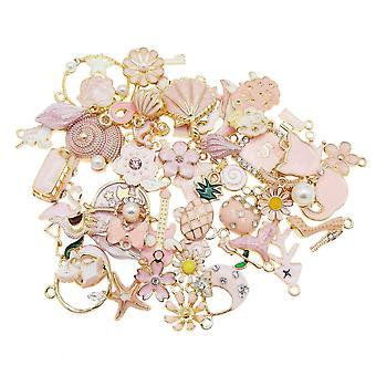 Gemengde kleur email charmes Flower Plant Star hanger voor armband