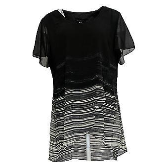 H por Halston Women's Top Ombre' Chiffon Short Sleeve Tunic Black A311464