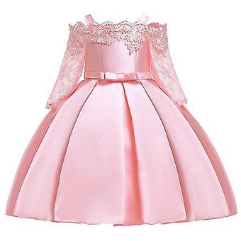 Цветок кружева полый рукав, плечо ремешок платье