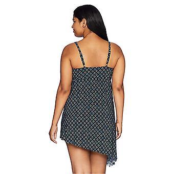 Coastal Blue Women's Plus Size Control Swimwear Side Tie Longline Tankini Top...