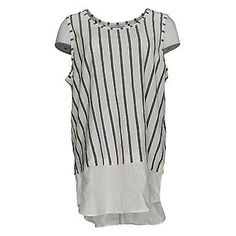 Kathleen Kirkwood Women's Top Striped Tank with Shirttail Hem White A352377