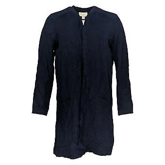 Belle By Kim Gravel Women's Sweater Feather Knit Long Cardigan Blue A309908