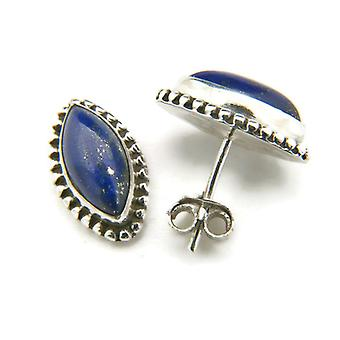 Lapis Lazuli Studs 925 Silver Sterling Silver Earrings Blue (MOS 19-06)