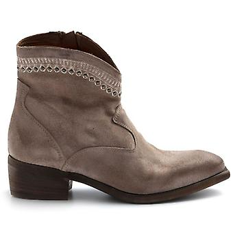 Zoe Sioux Texan Ankle Boots in Dove Suede With Embroidery