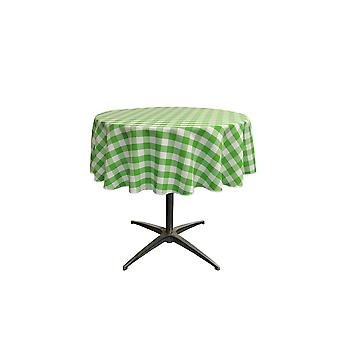 La Linen Polyester Gingham Checkered 51-Inch Round Tablecloth, White And Lime