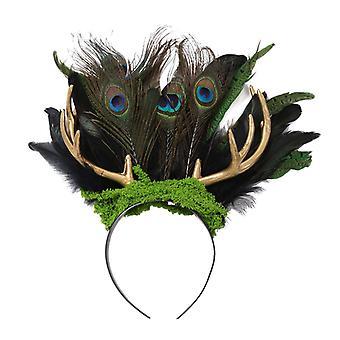Gótica Natural Real Peacock Feather Elk Antler Headband