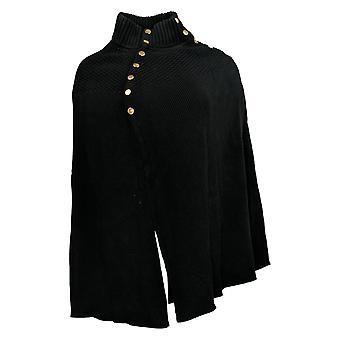 G.I.L.I. Got It Love It Women's Sweater Cape Button Detail Black A368018