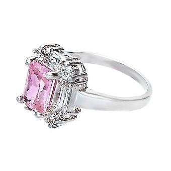 Krásny leštený smaragd rezaný ružový kamenný bagetový prsteň