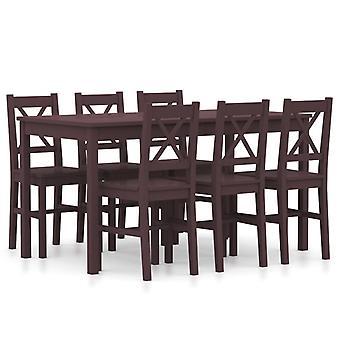 7 Piece Dining Set Pinewood Dark Brown