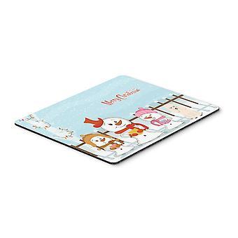 Caroline'S Schätze Frohe Weihnachten Carolers Pudel weiße Maus Pad, Multicolor, 7.75X9.25 (Bb2401Mp)