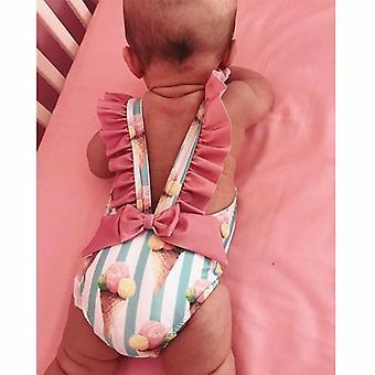 Baby Cute Ice Cream Striped Print Backless-maillot de bain Maillots de bain