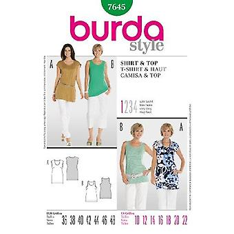 Burda Ladies Couture Modèle 7645 - T-Shirt & Top Sizes: 10-22