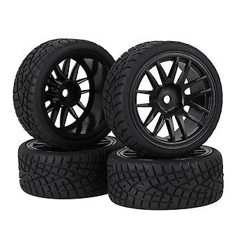 4pcs Black 20604 Rubber Tyres+ 14-Spoke Plastic Wheel Rims for RC 1:10 On Road Car