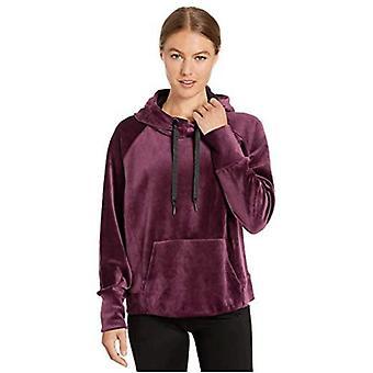 Brand - Core 10 Women's Luxe Velvet Yoga Hoodie, Wine/Black, M (8-10)