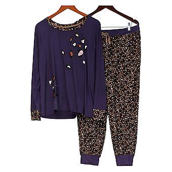Cuddl Duds Mujeres's Petite Cozy Jersey Jogger Pajama Set Púrpura A381784