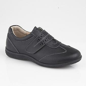 Boulevard Heathers Ladies Leather Touch Fasten Shoes Black