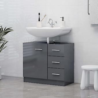 vidaXL Wash basin cabinet high gloss grey 63x30x54 cm chipboard