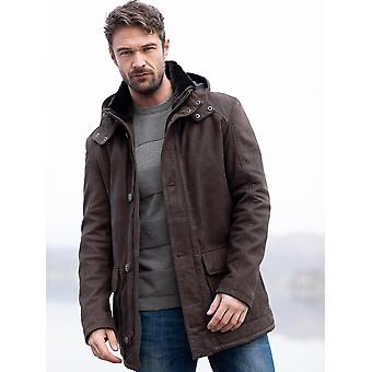 Stonethwaite Hooded Leather Coat in Brown