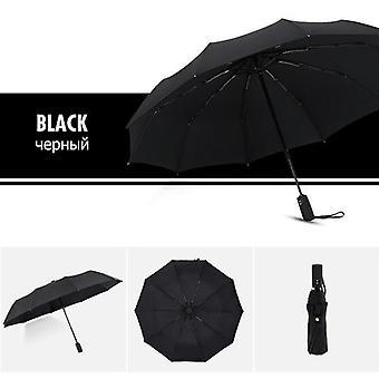 10Ribs Windproof Double Automatic Folding Umbrella(Black)