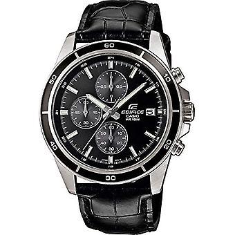 Casio EDIFICE Uhr, Robustes Gehäuse aus Edelstahl, 10 BAR, Schwarz, Herren mit Kunstlederarmband EFR-526L-1AVUEF