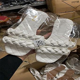 Women Casual Fashion Weaving Summer Open Toe Flat Slipper
