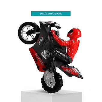 Autoequilibrante RC Motocicleta 6 ejes de giroscopio Stunt Racing Motocicleta Plástico Mini Toy (Rojo)