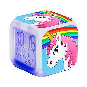 新しいユニコーンはカラフルなカルテットを導いた温度計輝くキューブ目覚まし時計夜のライトES1146