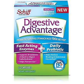 Schiff Digestive Advantage Fast Acting Enzymes Plus Daily Probiotic, 32 Caps