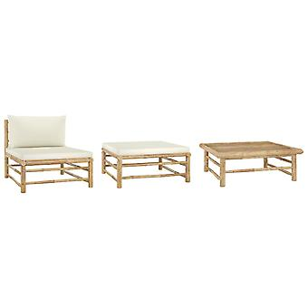 vidaXL 3 pezzi. Set da giardino con cuscino di bambù