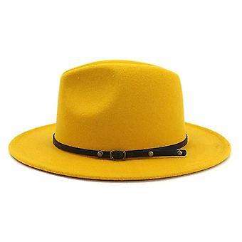 Vintage effen kleur vilt brede rand bowler Fedora hoed (geel)