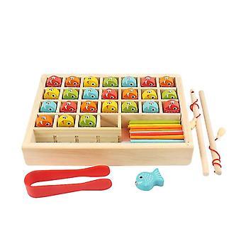 Brinquedos de pesca de madeira, caixas de aprendizagem digital, brinquedos educativos de pesca magnética de madeira