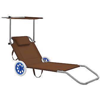 vidaXL sammenleggbar sofa med solbeskyttelse og hjul stål taupe