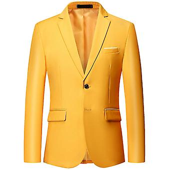 Silktaa Men's Solid Color Two-button Slim-fit Business Blazer