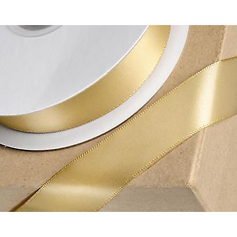 25m Light Gold 15mm Wide Satin Ribbon for Crafts