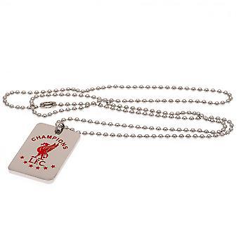 Liverpool FC Kampioenen Van Europa Colour Crest Dog Tag & Chain Officiële Licentie