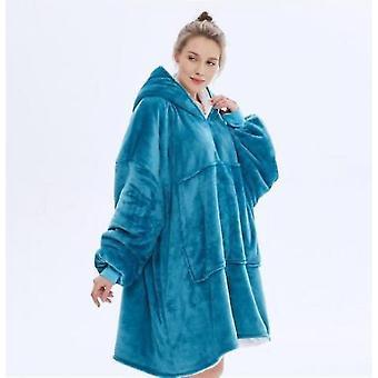 Autumn And Winter Plus Velvet Loose Mid-length Hooded Jacket Female Flannel(Blue)