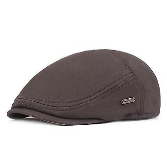 Chapeau plat de béret vieux chapeau de coton d'hiver épais chapeau chaud de protection d'oreille de velours
