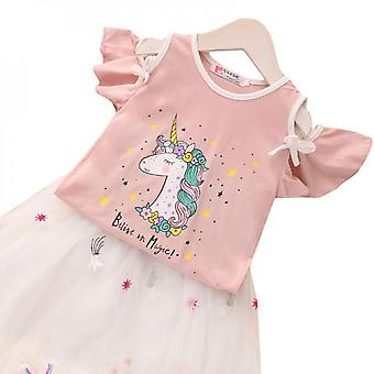 Kid Girl Unicorn Dress Party T-shirt And Tutu Skirt Clothes Outfit Set