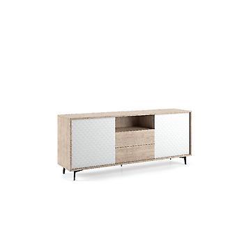 Mobile Multiuso Trio , Colore legno, Bianco in Truciolare Melaminico, L184xP45xA77 cm