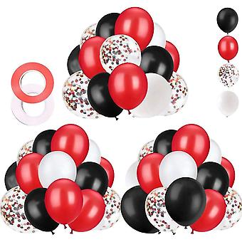 62 Pieces Black Red Confetti Balloons Kit, 12 Inches Black Red White Confetti Balloons With Balloon Ribbon