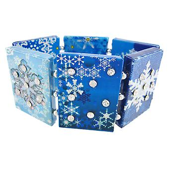 Papier Artwork Snowflake Strass Stretch armband