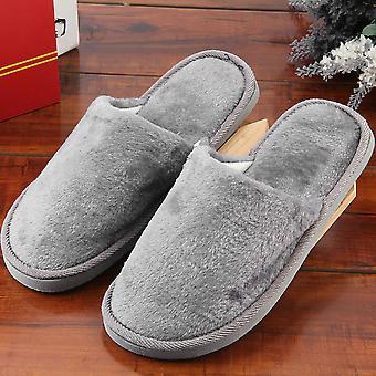 Plush Indoor Home Women Men Anti Slip Shoes Soft Warm Cotton Silent Slippers