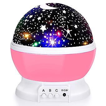 Night Light, 360-degree Rotating Star Projector, Desk Lamp 4 Leds 8 Colors Changing With Usb Cable,  For Children Baby Bedroom And Party Decorations