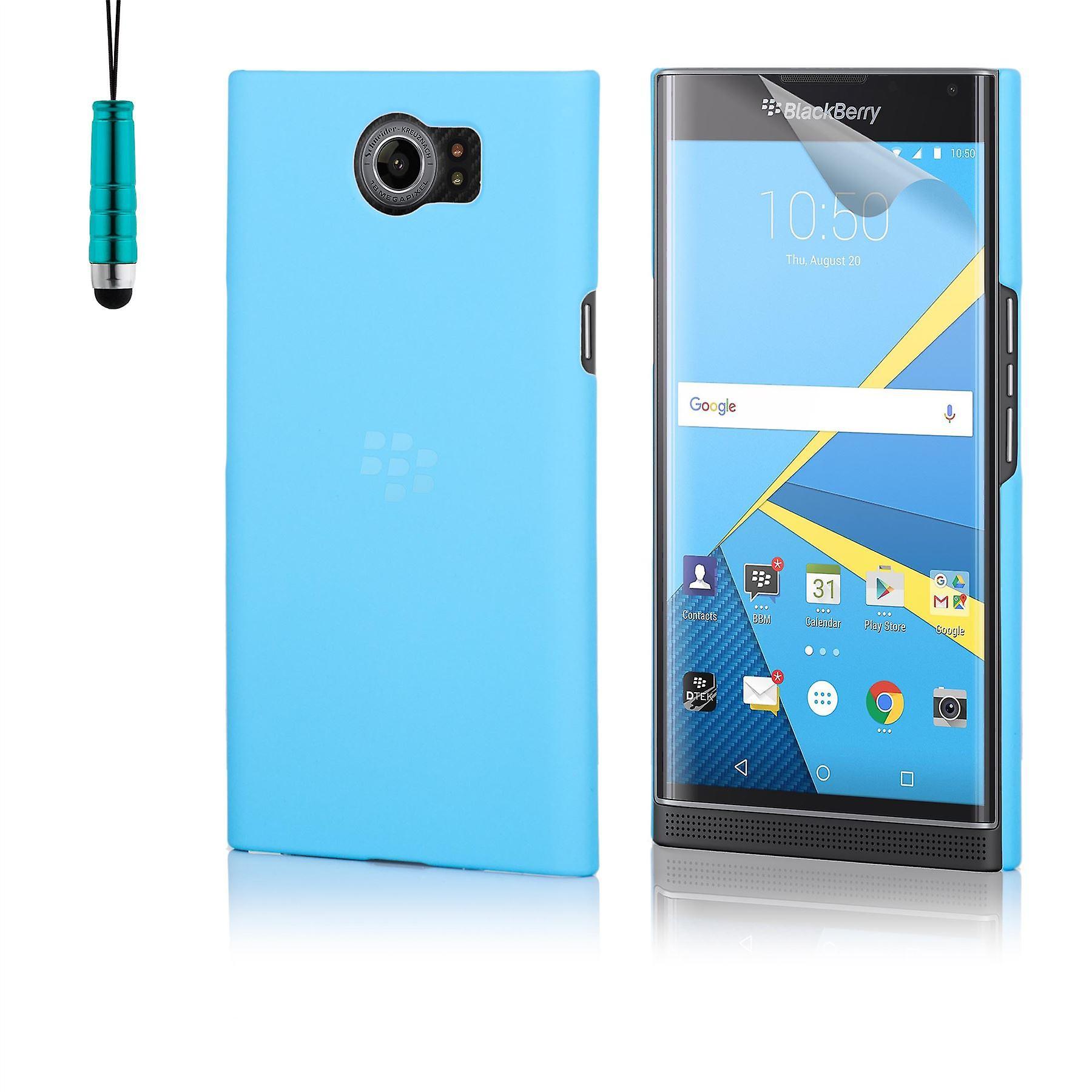 Hard plastic shell case + stylus for BlackBerry Priv - Light Blue