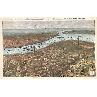 Lower Manhattan Brooklyn Bridge kort tyske 1883 plakat Print Giclee