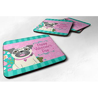 Carolines Treasures  VHA3002FC Set of 4 Happy Valentine's Day Pug Foam Coasters