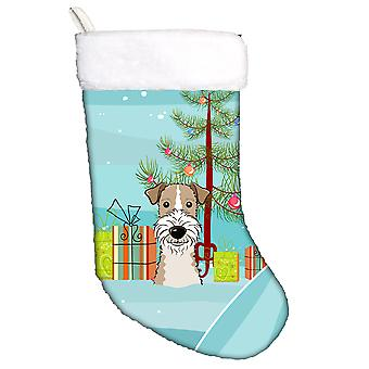 Christmas Tree and Wire Haired Fox Terrier Christmas Stocking