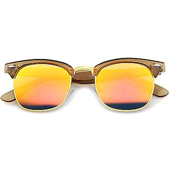 Womens corne Rimmed lunettes de soleil UV400 protégée lentille miroir